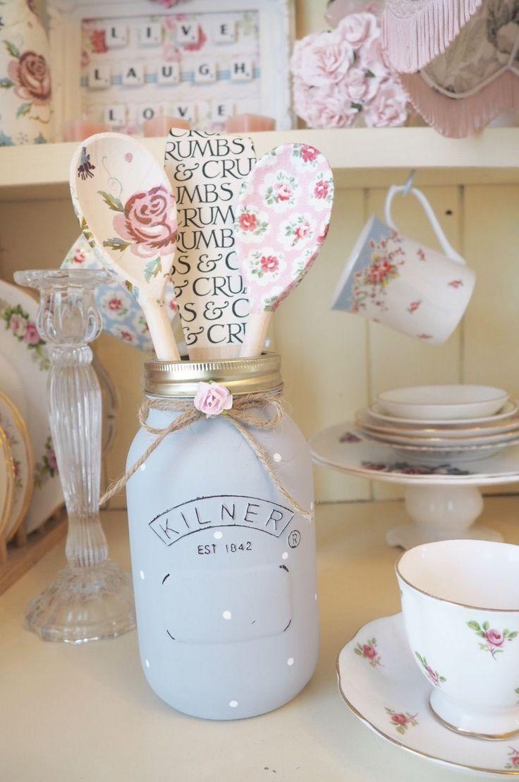 Shabby Chic Painted Kilner Jar Floral Spoon Set Cath Kidston Emma Bridgewater | eBay