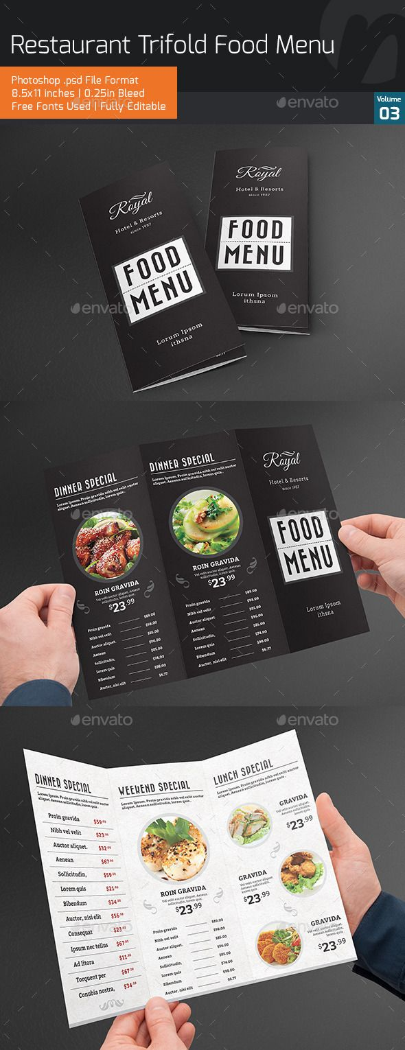 455 best trifold restaurant menu template images on pinterest restaurant trifold food menu v3 pronofoot35fo Choice Image