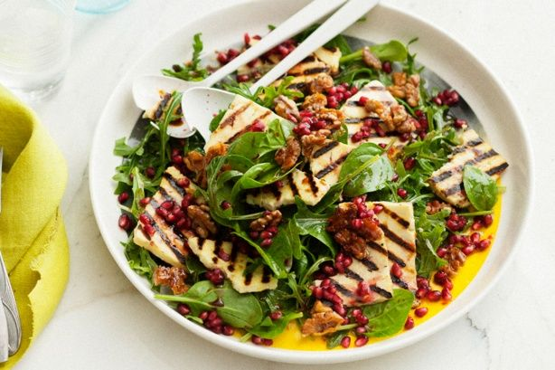 This vibrant Haloumi, pomegranate and rocket salad is proudly brought to you by Lemnos and the Taste team.