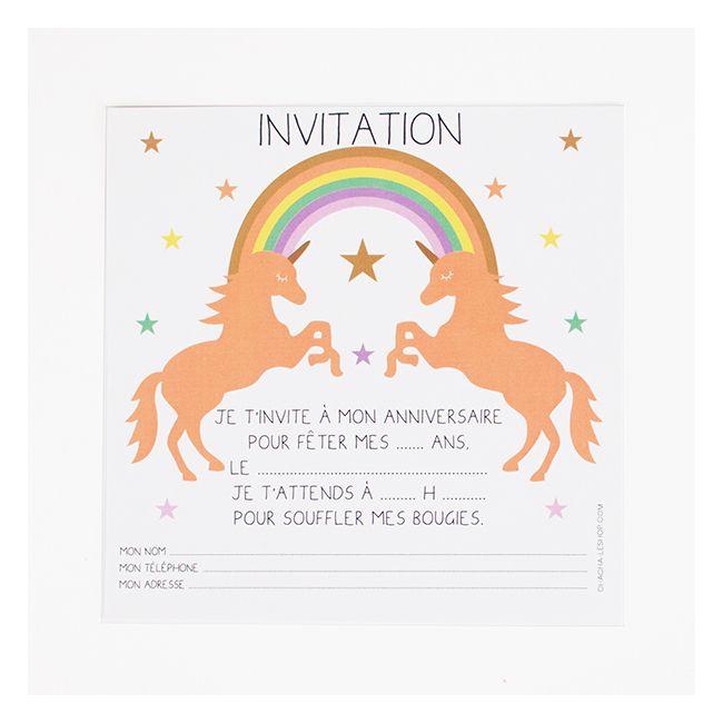 8 cartons d'invitation licorne