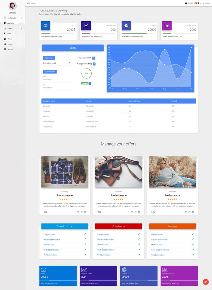 Admin Dashboard template based on Material Design Template