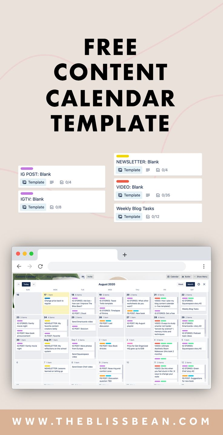 Blog Content Calendar Template The Bliss Bean in 2020