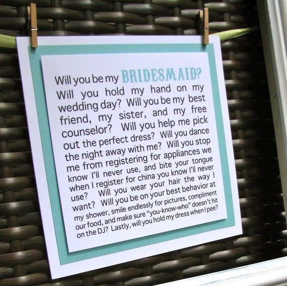 Will You Be My Bridesmaid Card/ Maid Of Honor Card/ By