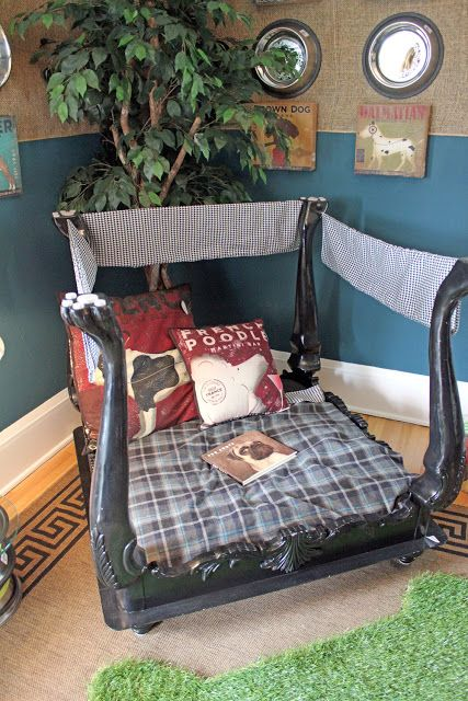 dog bed made from upside down coffee table/end table. very cute if you have the space.