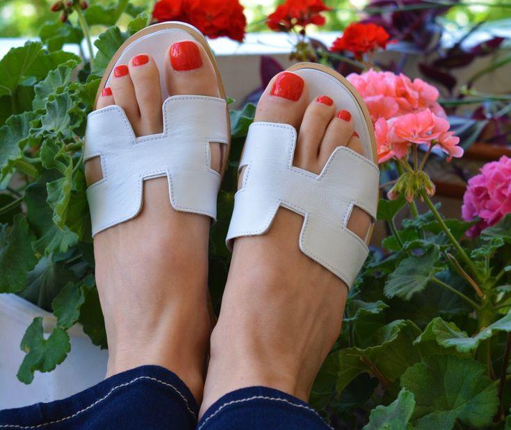 Image of Greek Leather Sandals, White H Slides, Greek Sandals, White Leather Slides, Many colors