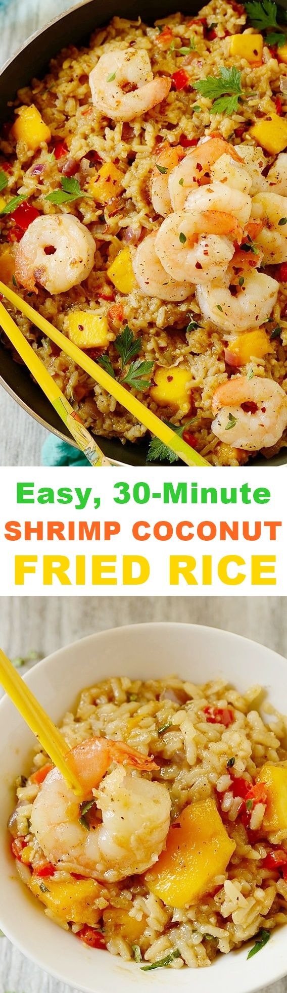 Shrimp Coconut Fried Rice -- quick and easy to make and perfect as a weeknight meal.