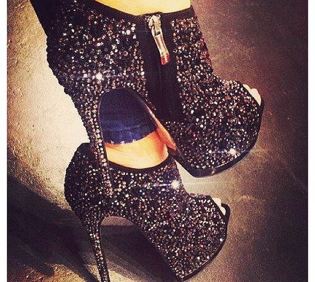 sparkly high heeled boots shoes