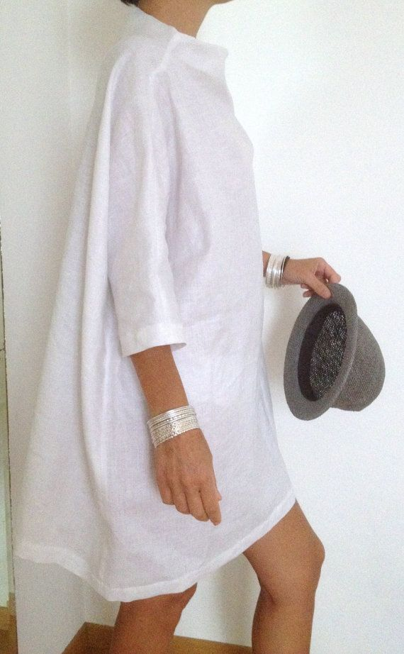 Linen Dress - Plus Size Clothing - Linen Tunic - Linen Womens Clothing - White…  Explore our amazing collection of plus size fashion styles and clothing. http://wholesaleplussize.clothing/