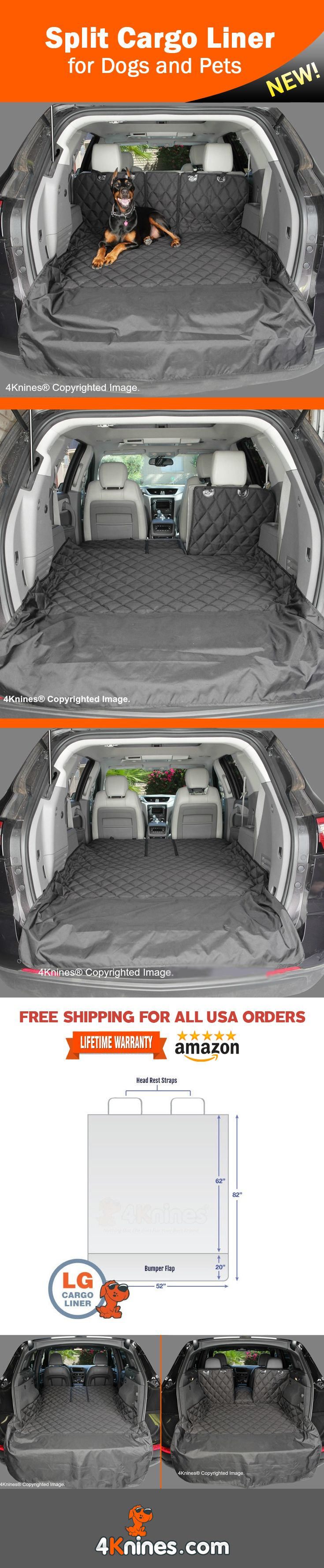 Protect your Cargo Area from fur and dirt with a 4Knines Cargo Liner. This luxury liner allows for use of a 60/40 or 50/50 split seat. http://4knines.com/pages/4knines-split-cargo-liner