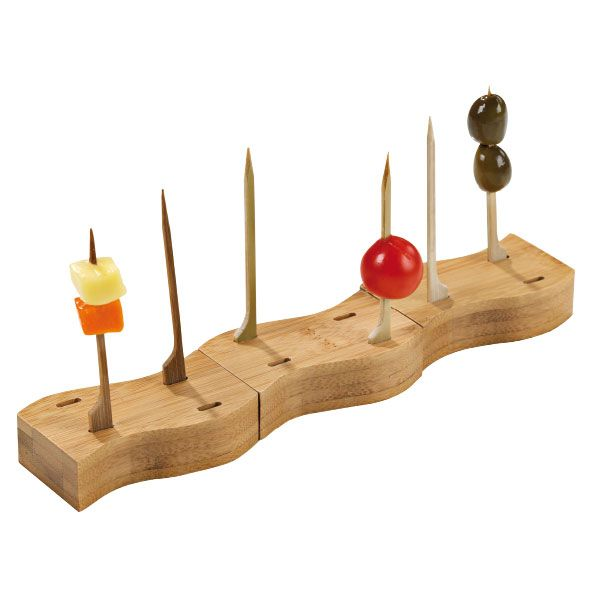 """The 4 Hole Thick Bamboo Paddle Pick Holder is a creative way to display fruits, cheeses, mini snacks and more. The reusable pick holder is constructed of sturdy, all natural bamboo and features 4 holes in which our bamboo paddle picks (sold with the pack) fit perfectly into. Measures 3.2"""" L x 1.6"""" W x 0.8"""" H. The bamboo is recyclable and biodegradable."""