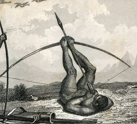 Katniss Everdeen in an alternate universe  1851Antique Steel Engraving of Brazilian Bird Hunting and other Customs and Activities. With Greenland Seal Hunting. Plate 35