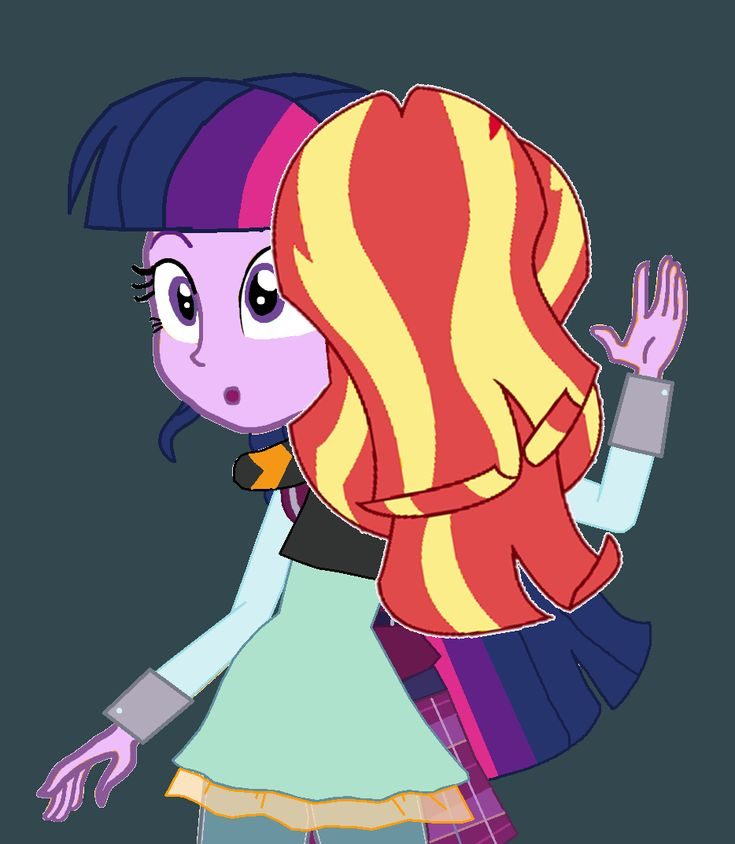 Sunset Shimmer and Twilight Sparkle by CloudyGlow on