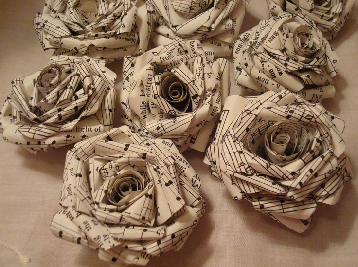 10 vintage sheet music paper roses rolled roses craft for Vintage christmas craft supplies