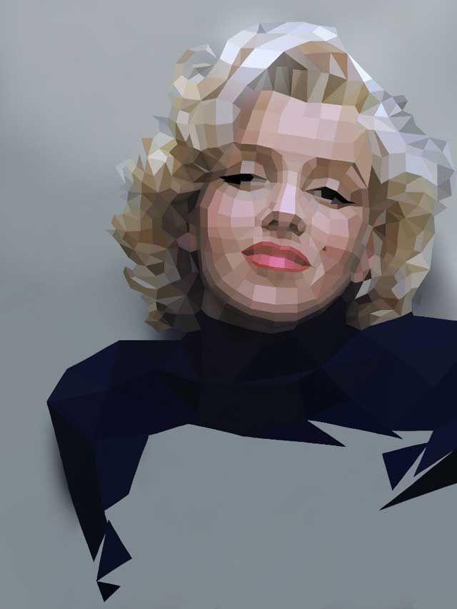 Marilyn Monroe by Paul Vera Broadbent | Sketchbook Pro for iPad over low poly model