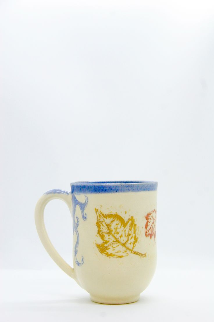 For More Follow Pinterest.com/LoneFoxPottery                                                            Fall leaf Mug, Autumn Coffee Cup, unique handmade pottery