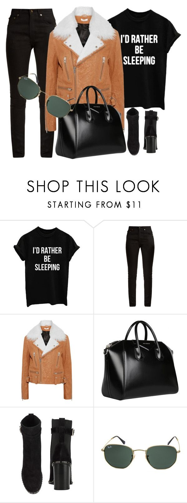 """I'd Rather Be Sleeping"" by smartbuyglasses-uk ❤ liked on Polyvore featuring Yves Saint Laurent, IRO, Givenchy, rag & bone, Ray-Ban, black and brown"