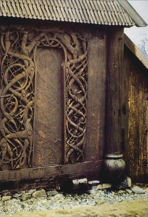 Title Wooden Door Of The Stave Church At Urnes Norway