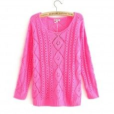 Rose red hollow round neck three quarter sleeve knit sweater