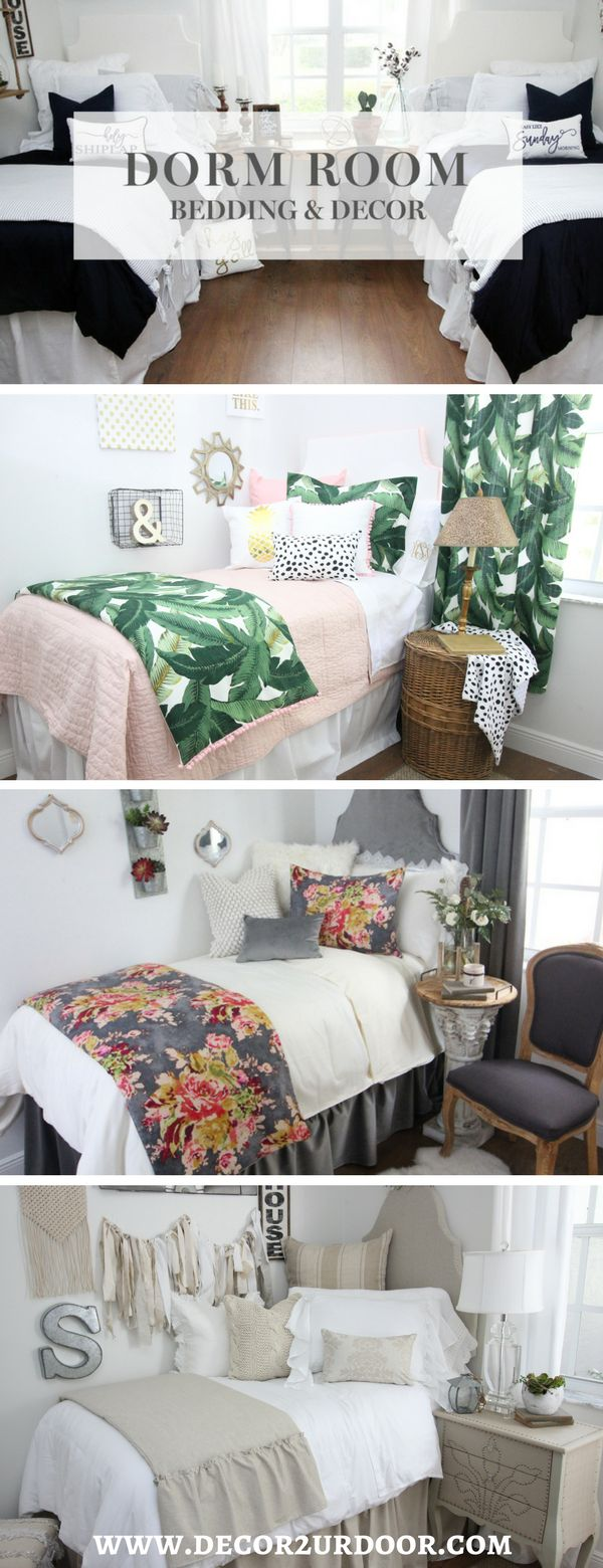 Shop Dorm Room Bedding and Décor. Design your dream dorm room and be the hit of the hall! Select your extended-length dorm bed skirt, dorm headboard, decorative pillows for your dorm bed, twin XL bedding, dorm bed scarf, custom dorm room wall art and monograms, and so much more! Our custom dorm bedding features the industry's hottest dorm bedding trends. Shop farmhouse dorm bedding, floral dorm bedding, neutral dorm bedding, bright and colorful dorm bedding, Lilly dorm bedding, and more…