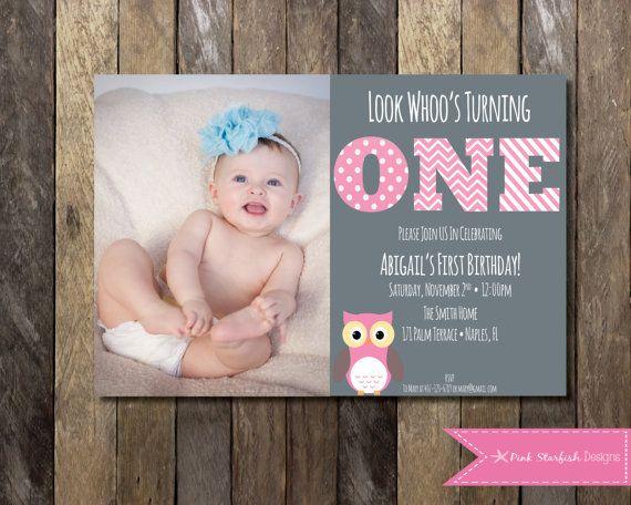 PRINTABLE Owl First Birthday Invitation by PinkStarfishDesigns, $13.00