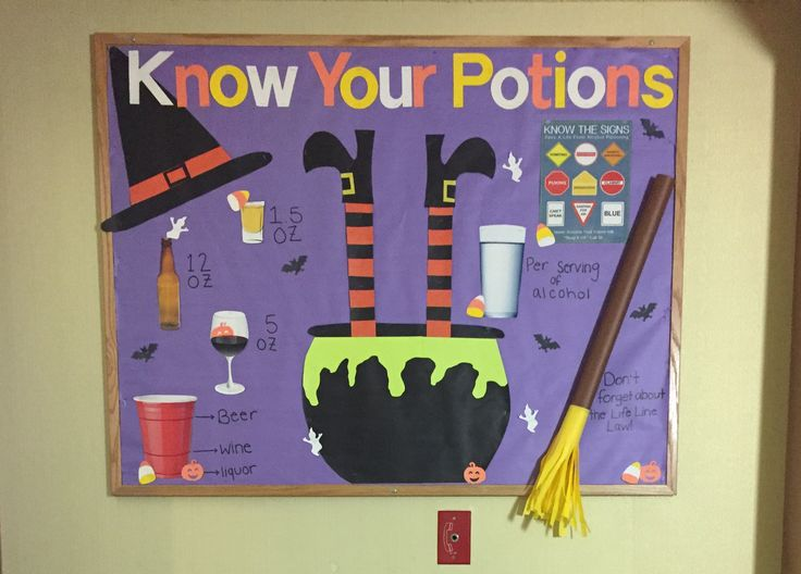 Halloween themed alcohol information bulletin board.