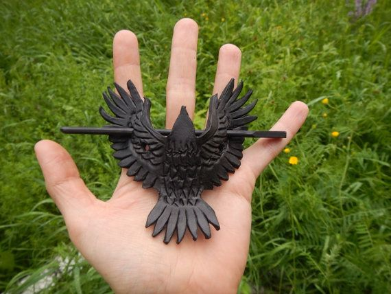Leather hairpin Raven, black leather hairpin, leather barrette, leather stick hair, black leather raven
