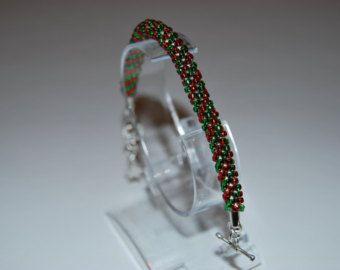 Coloured Beaded Bracelet made with TOHO beads - handmade using the Kumihimo technique - Etsy