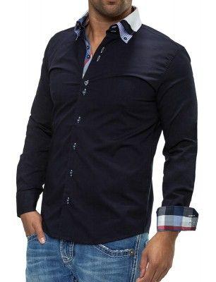 Camisa Carisma detalle cuello doble botón   black