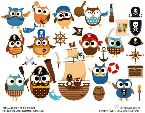 Pirate owl clip art for Personal and Commercial by Giftseasonstore, $2.00