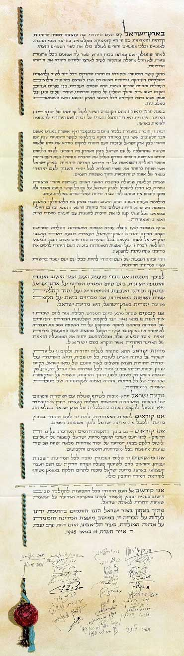 The Declaration of the Establishment of the State of Israel | Jewish Virtual Library