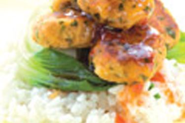 Tuna fish cakes with coconut rice and bok choy