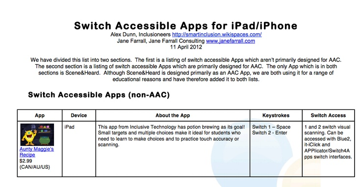 Jane Farrall and Alex Dunn's wonderful list of Switch Accessible Apps for iPad/iPhone. http://www.janefarrall.com/html/resources/Switch%20Accessible%20Apps%20for%20iPad.pdf