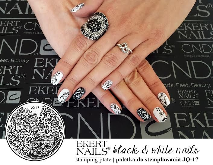 Perfect manicure with black&white stamps :) Shellac, CND, Vinylux #ekert #nails