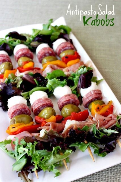 Have your salad on a stick! Perfect party food, totally customizable to your liking. Serve with dressing as dip on the side.