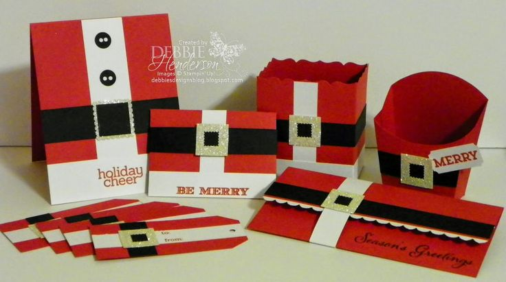 November Kit for sale on my blog today. Santa Suit theme. Stampin' Up! products. Bonus project PDF included.Debbie Henderson, Debbie's Designs.