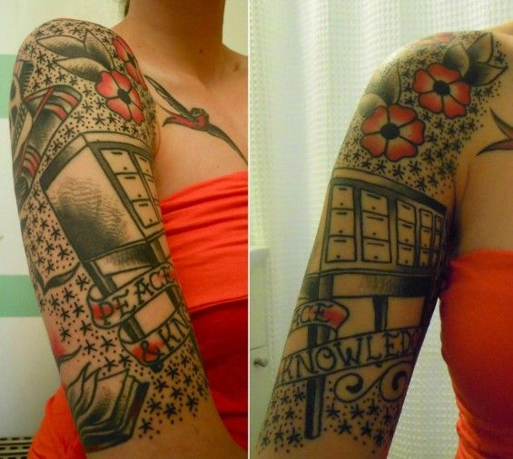 """#letrasenlasangre 11 Amazing Librarian Tattoos 1. Card Catalog Sleeve Elizabeth Skene has what might be the most awesomely complete librarian sleeve around, featuring a skull sitting on top of a book, with a graduation cap next to a card catalog with a banner reading """"Peace and Knowledge."""" There is also an open book with pages coming out and turning into birds. Let there be no doubt here: Elizabeth loves libraries. Tattoo by Frank William of the Chicago Tattoo Company."""