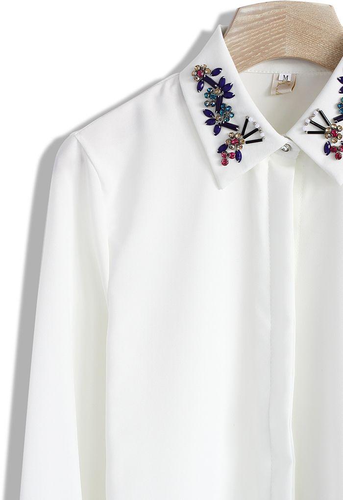 Beads Embellished Collar White Shirt - Long Sleeve