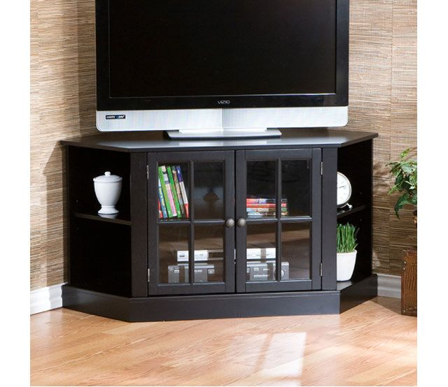 Black Corner Media Stand   Traditional Styling With Modern Convenience,  This Corner Media Stand Is