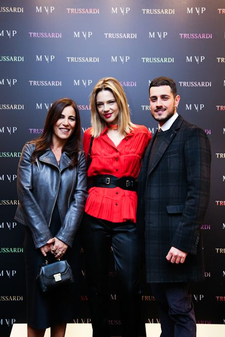 Paola Turci, Gaia Trussardi and Emanuel Caserio at the #MVPforTrussardi event in Rome. #MVPCreations #Trussardi