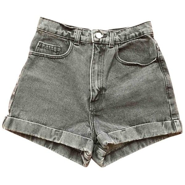Grey Denim Jeans Shorts AMERICAN APPAREL (12.335 HUF) ❤ liked on Polyvore featuring shorts, bottoms, c.shorts, grey shorts, american apparel, gray shorts and american apparel shorts