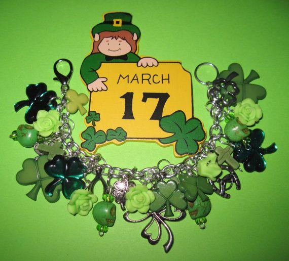 St Patrick's Day Charm Bracelet Shamrock Bracelet St. by Jynxx