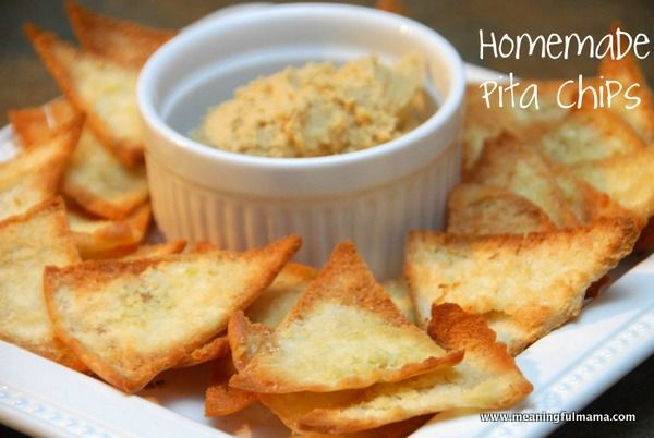 Homemade Pita Chips Recipe | tried 4/28/13 great recipe. Next time try coating them with olive oil and dipping herbs. Bake at 375 for 4-5 minutes in my oven