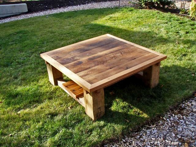 Custom table includes salvaged timbers and agricultural planks.