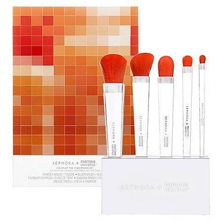 """SEPHORA+PANTONE UNIVERSE Tangerine Tango Brush Set Stand 6 x 1.25 x 3""""; Brushes with stand: 6 x 1.25 x 9"""" by SEPHORA+PANTONE UNIVERSE. $48.00. What it is:A stunning set of brushes with vibrant, tangerine-colored bristles. What it does:Create any makeup look with this set of gorgeous brushes, from natural to dramatic. The clear, acrylic handles fit comfortably in the hand and the synthetic bristles offer a fantastic pop of color inspired by The Color of the Year—Tangerine Tan..."""