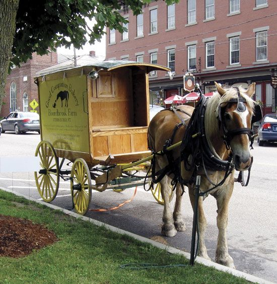 "DIY Horse-Drawn Wagon Is a Ready-to-Roll Bakery Cart - This horse-drawn wagon carries hundreds of loaves and pastries to market without using a drop of gasoline. The Vermont baker who built it believes horse-drawn vehicles can make a comeback, and hopes that he's started a trend with his handmade delivery wagon.  ""The cargo hold is outfitted with a handmade storage system that allows us to haul 150 pastries, 80 loaves of bread, several boxes of produce and two coolers of frozen meat..."""