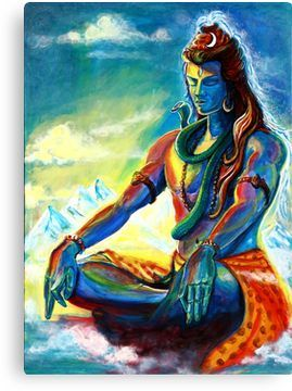 'Shiva in Meditation' Canvas Print by A little more Whirl Shiva in Meditation Canvas Print