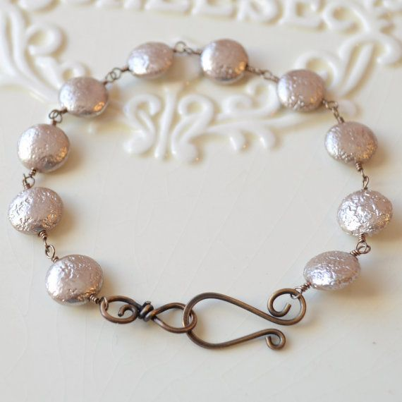 NEW Elegant Bronze Bracelet Taupe Glass Coin Pearls by LivEveryDay, $32.00
