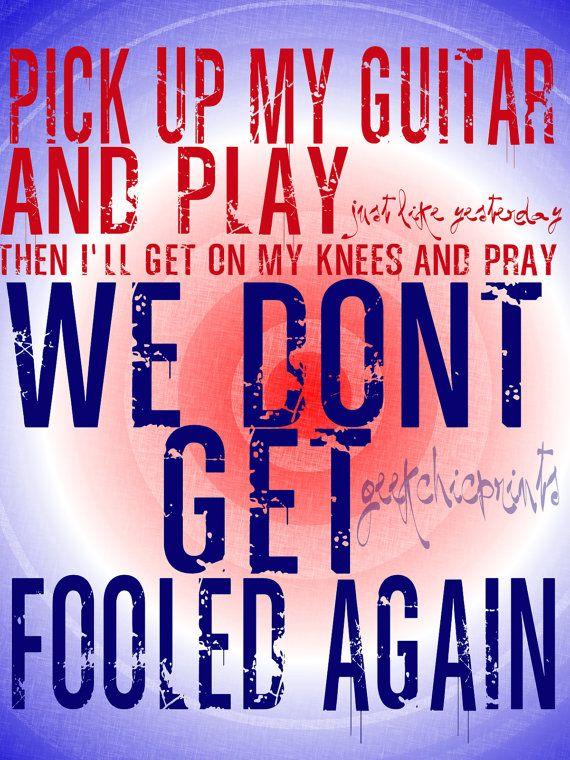 The Who Digital Art Pete Townshend Lyrics Won't Get Fooled Again Printable File Typography
