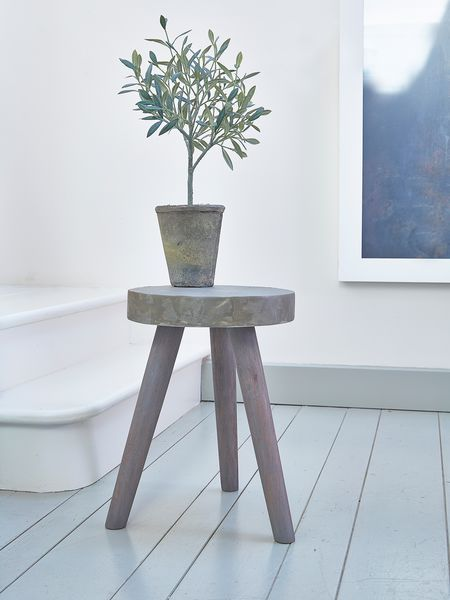 Danish designer wooden stool topped with layers of concrete, H42 x W30cm