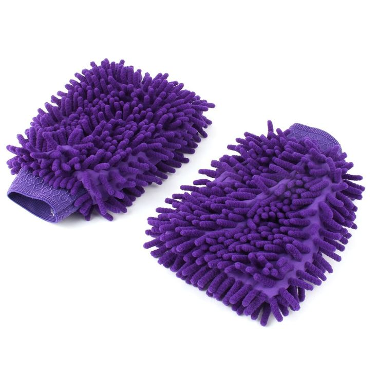 Home Chenille Car Glass Desktop Dust Cleaning Microfiber Glove Mitt Purple Pair